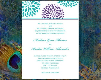 Wedding Invitation Template 'Floral Petals' Turquoise Teal & Purple Make Your Own Invitations w. Word.doc Templates ALL COLORS DIY You Print