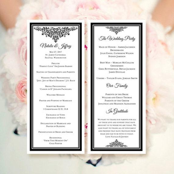 Wedding Program Template Anna Maria Black Make