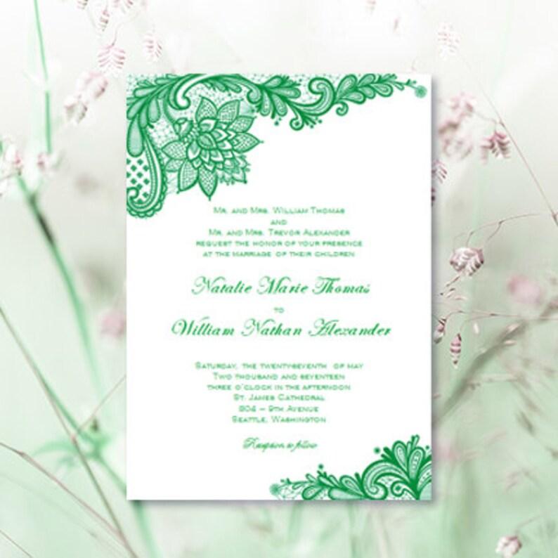 99b51d1d027 Vintage Lace Wedding Invitations Emerald Green Irish Printable