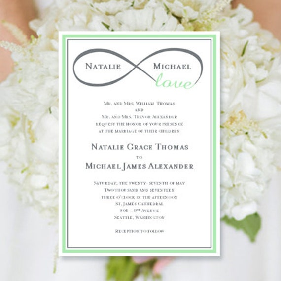 Apple Green Wedding Invitations: Wedding Invitation Infinity Love Mint Green & Gray