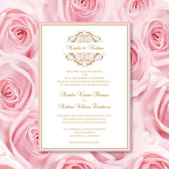 Wedding Invitations Templates Grace Blush Pink Etsy