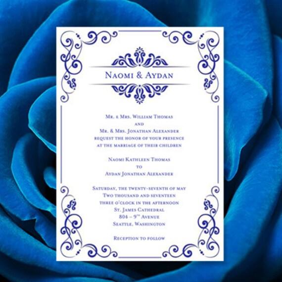 wedding invitation template julia royal blue etsy