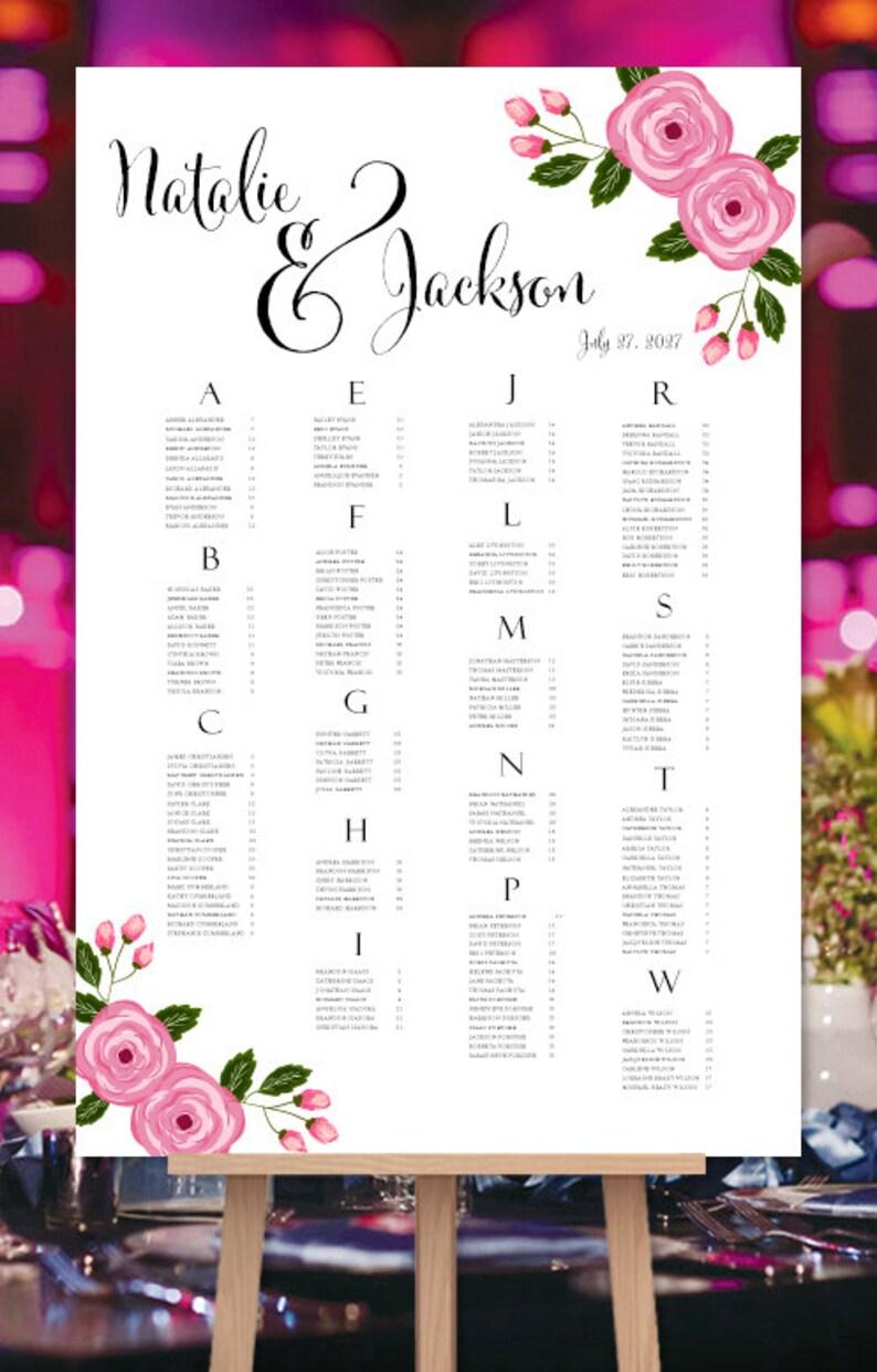 Wedding Seating Plan Poster Francesca Blush Pink Tones Garden Floral Reception Seating Chart RUSH Digital File Alphabetical Order Portrait
