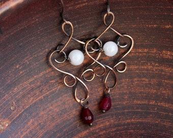 Long Copper earrings  Stone bead Earrings Wire wrapped Dangle Wire  earrings Simple Garnet Rose Quartz earrings Artasan gift for sister