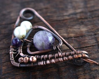 Shawl Pin Wire wrapped pin geometric brooch Copper Triangle brooch  Closure  Scarf  brooch  Mom gift Wire wrappped brooch