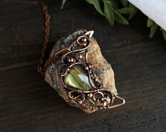 Celestial Jewelry Crescent Moon Pendant Necklace Fall Boho Cosmic Necklace Celestial Luna Necklace Labradorite Wire Wrapped Jewelry by Etsy