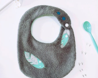 Christmas gift, new baby gift, baby bibs - Feathers, Grey, Turquoise, sponge, cotton - baby shower gift, baby gift, personalized, TI'ZËST