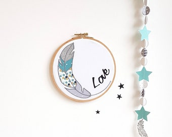 Decorative wall child wall frame feather, Love, blue green - gray frame - yellow, nursery, personalized birth decor, child