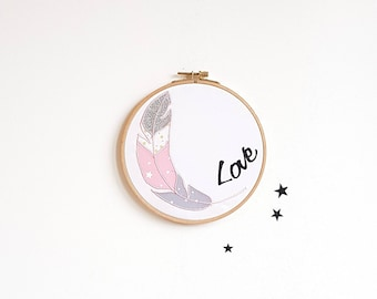 Decoration mural kids wall frame feather, Love, pink - gray frame, baby, nursery decor girl baby, birth, personalized gift