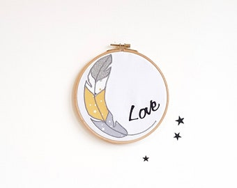 Kids wall decor, wall frame feather, Love frame, yellow - gray, boy, baby, room decoration, baby, birth, personalized gift