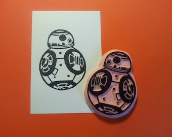 Star Wars BB8 Hand Carved Rubber Stamp