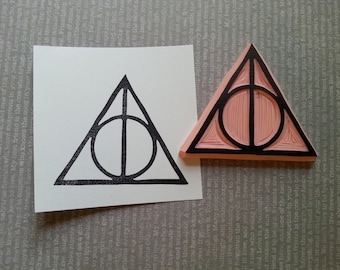 Deathly Hallows Hand Carved Rubber Stamp