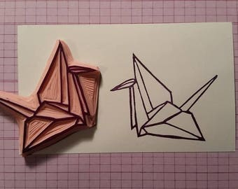 Origami Swan Hand Carved Rubber Stamp