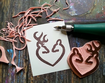 Browning style deer heart Hand Carved Rubber Stamp