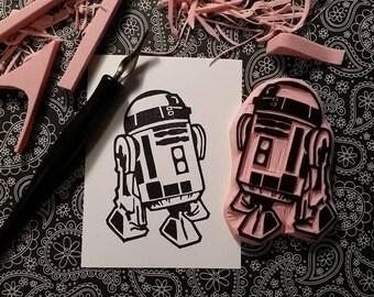 Star Wars R2-D2 Hand Carved Rubber Stamp