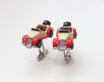 Micro Machine Cufflinks - Red 1953 MG Car Cufflinks