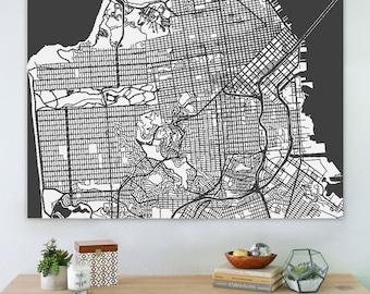 Map of San Francisco, large canvas, city maps, street map, vintage map, antique map, city maps, map art, city map art, wall art, map decor