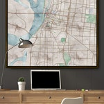 Memphis City Map Poster, Large Canvas, Watercolor Map Art Print, Old Vintage Tennessee Wall Art, Choose Size, Poster, Wrap, or Framed