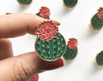 Julia Blooming Cactus Enamel Pin | Cute Cactus Enamel Pin | Enamel Pins & Accessories for Plant Lover | Plant Lady Enamel Pin | Brooch