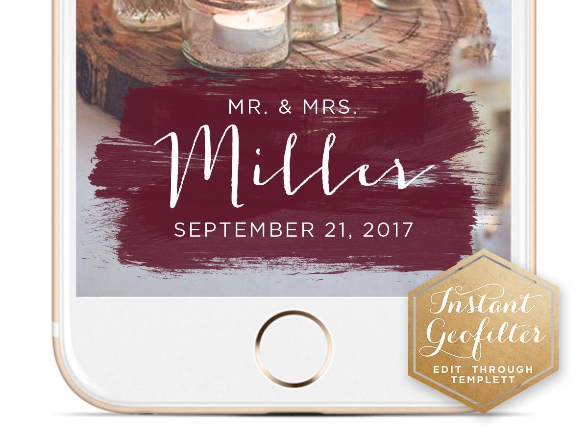 Aisl Shooting maroon brush strokes wedding snapchat geofilter | custom geofilter |  birthday geofilter | bridal shower geofilter | instant geofilter