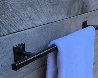 Rustic wrought iron towel bar