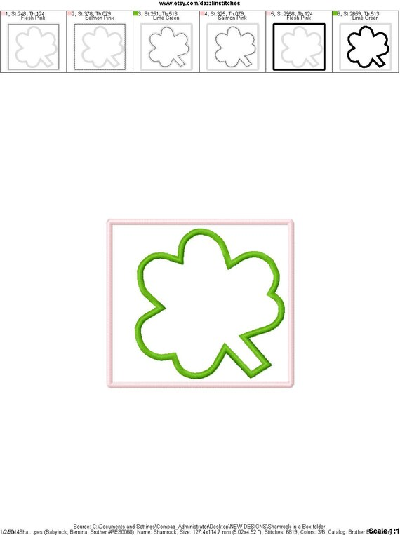 St Patricks Day Shamrocks In A Box Applique Design Etsy