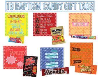 18 LDS Baptism Candy Gift Tag Printables - LDS Primary Baptism Gift - Candy Baptism Gift Tags - Baptism Gift