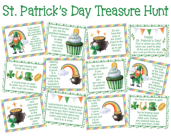 St. Patrick's Day Treasure Hunt Clues  St Patricks Day
