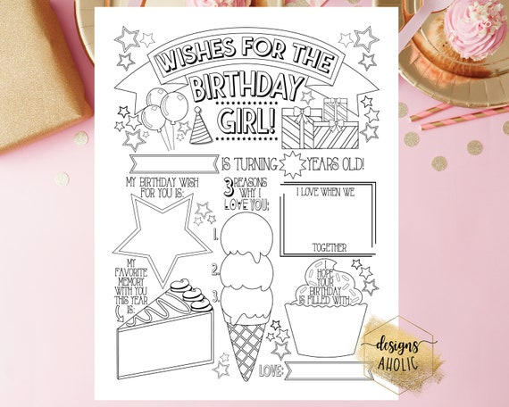 Printable Birthday Wishes Coloring Page  Fill In Birthday