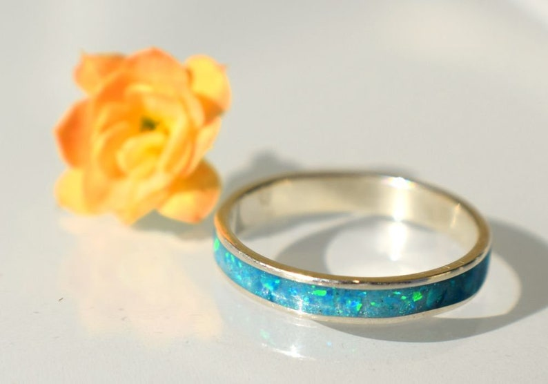 Minimal Sterling Silver Ring with Caribbean Blue Opal Inlay image 0