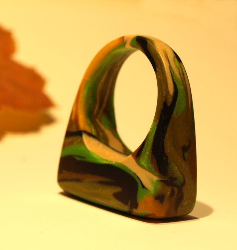 CLAY Camouflage Rings Camo Jewelry OOAK Rings OOAK Jewelry image 0