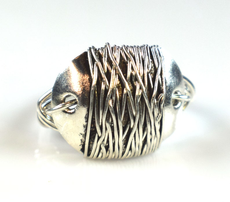 Steampunk Sterling Silver Wire Wrapped Ring Gothic Silver image 0