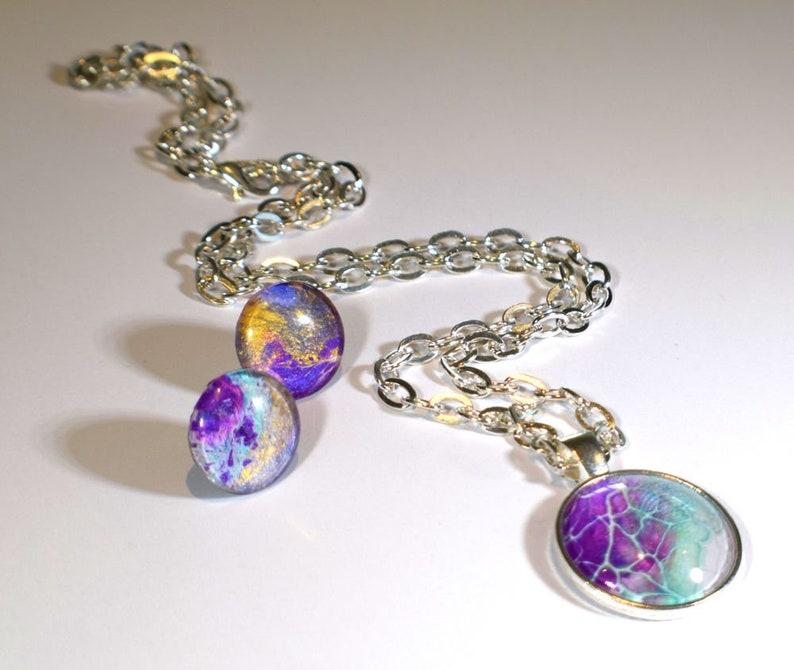 Solar System Jewelry Original Painting Jewelry Space image 0