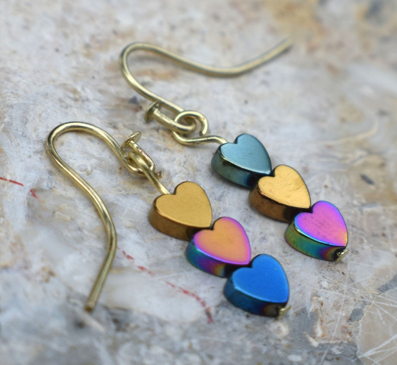 Gemstone Heart Earrings Spinner Earrings Hematine Earrings image 0