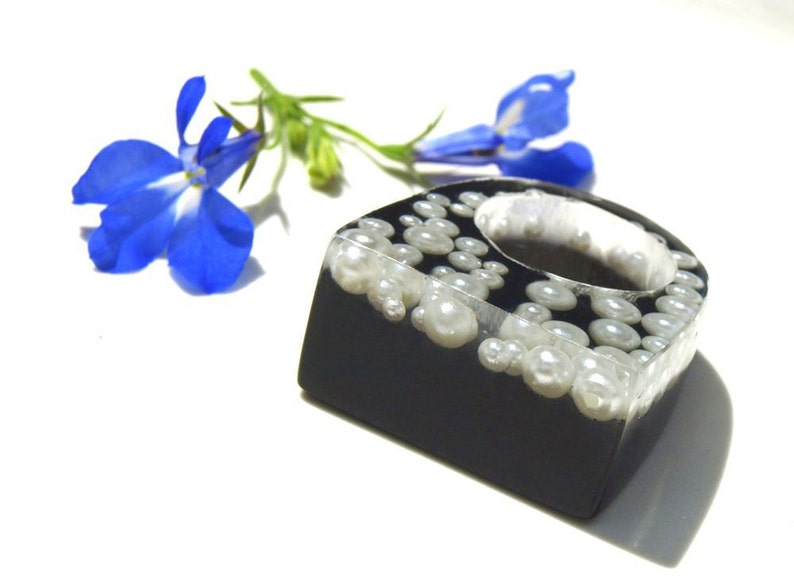 Licorice & Pearls Resin Ring Black and White Ring Statement image 0
