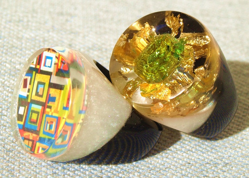 Emerald Crystal Resin Ring Spring Fashion Ring Trends image 0