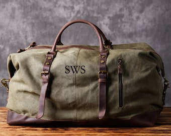 e40b94f0e2 FAST Shipping Men s Waxed Canvas Leather Duffle Bag Weekender Vintage Style  Weekend Travel Duffel Bag Groomsmen Gift Personalized