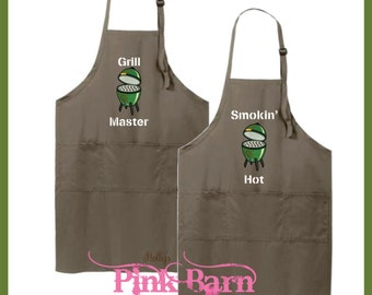 Ships in 3 Days Custom Embroidered Apron Big Green Egg Grilling Kitchen Khaki Apron Smokin Hot Grill Master