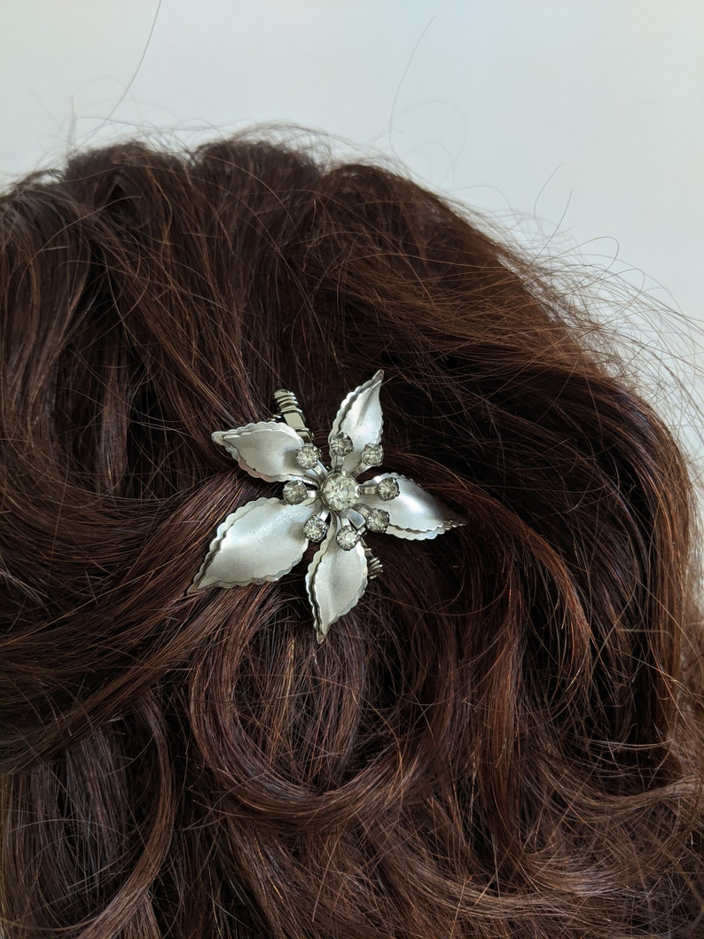 Something Old Retro Wedding Retro Bridal Comb Retro Bride  #CB104 Mid-Century 50s Matte Stylized Floral Crystal Brooch Bridal Hair Comb