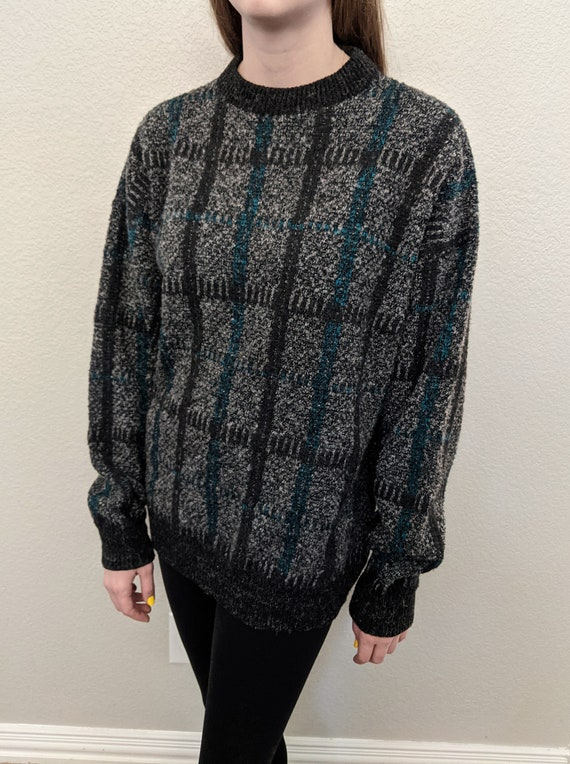 80s Oversized Plaid UPPER BODY Turquoise Wool Mens