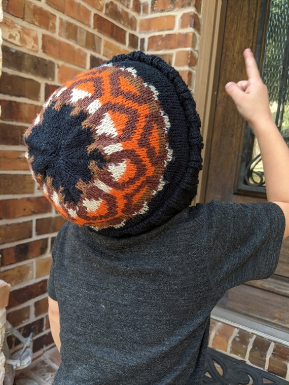60s Little Boy Knit Beanie Hat Face & Mask in Blac