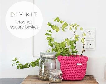 DIY Square Crochet Basket Kit - Choose your colour red & Pinks