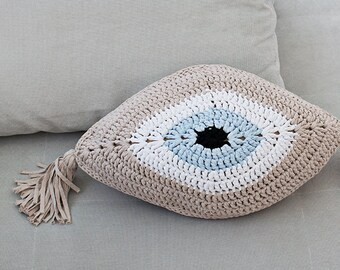 Evil Eye Pillow With Tassels - Choose Your Colour