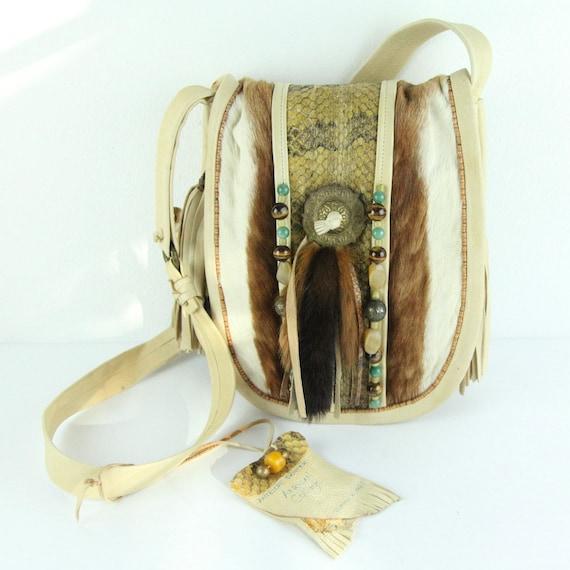 Vintage Handmade Exotic Leather Fur Snake Beaded H
