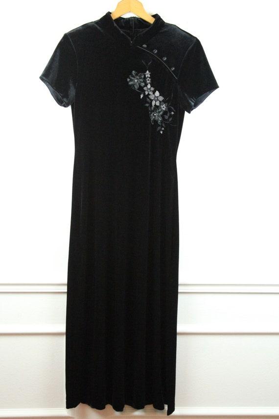 Vintage 90s Y2K Black Velvet Qipao Cheongsam Dress