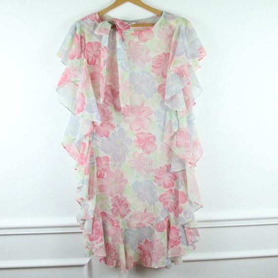 FLAW Vintage 80s Floral Sheer Ruffle Dress Romanti