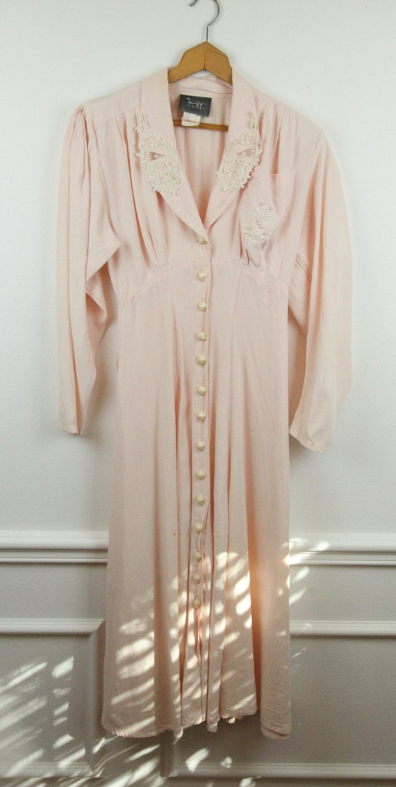 FLAWS Vintage 80s does 40s Foxy Lady Dress Pink Sh