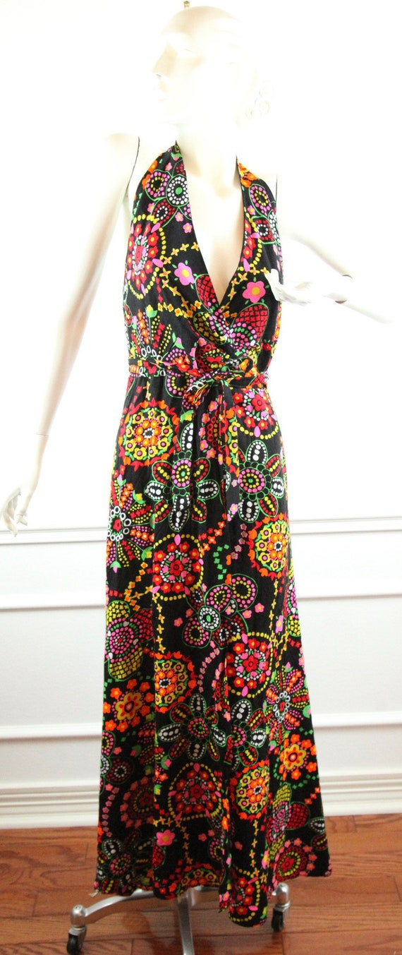 Vintage 60s 70s Barkcloth Wrap Halter Dress Black… - image 1