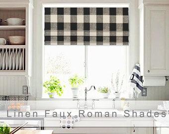Modern Farmhouse Faux Roman Shade Lined Mock Valance Check Gingham Plaid Windowpane Slub Ecru Custom Sizing Available!
