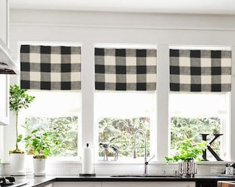 Valance Curtains Buffalo Check Plaid Farmhouse Black Tan Drapes Kitchen Dining Room Window Shade Custom Roman Modern Chic